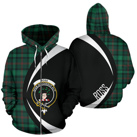 Ross Hunting Modern Tartan Circle Zip Hoodie HJ4