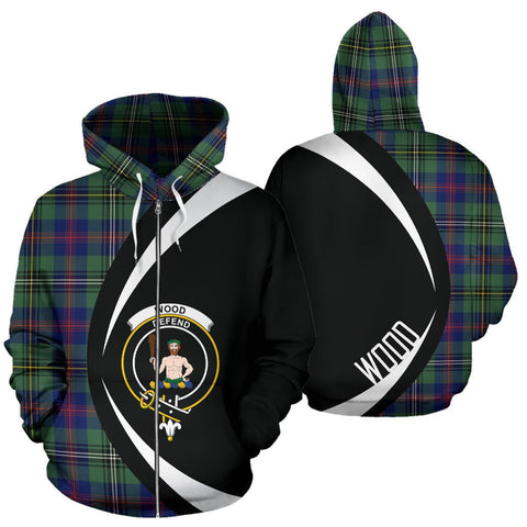 Image of Wood Modern Tartan Circle Zip Hoodie HJ4