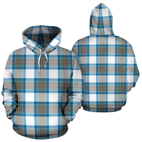 Stewart Muted Blue Tartan Hoodie, Scottish Stewart Muted Blue Plaid Pullover Hoodie