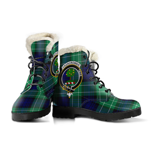 Abercrombie Tartan Faux Fur Leather Boots