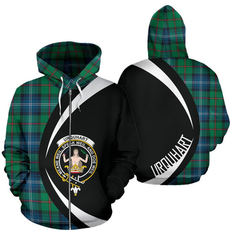 Urquhart Ancient Tartan Circle Zip Hoodie HJ4