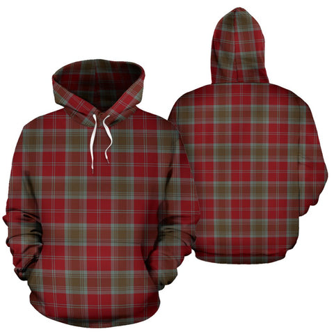 Lindsay Weathered Tartan Hoodie, Scottish Lindsay Weathered Plaid Pullover Hoodie