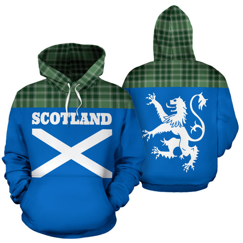 Tartan All Over Hoodie - Lion MacDonald Lord of the Isles Hunting