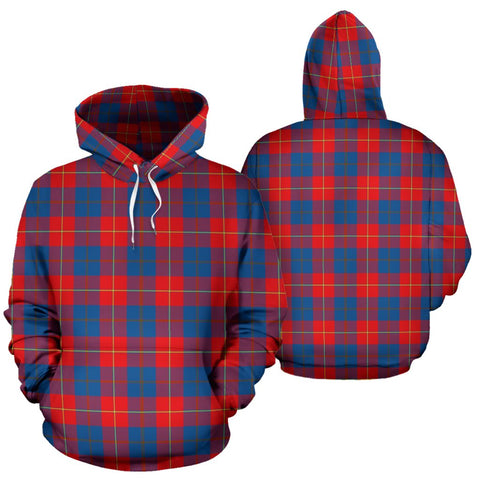 Galloway Red Tartan Hoodie, Scottish Galloway Red Plaid Pullover Hoodie