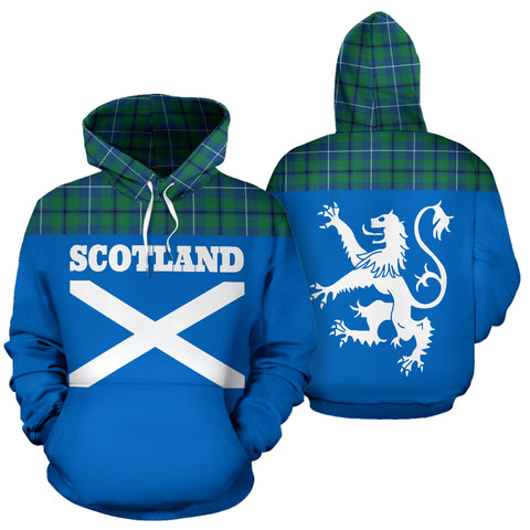 Tartan All Over Hoodie - Lion Douglas Ancient