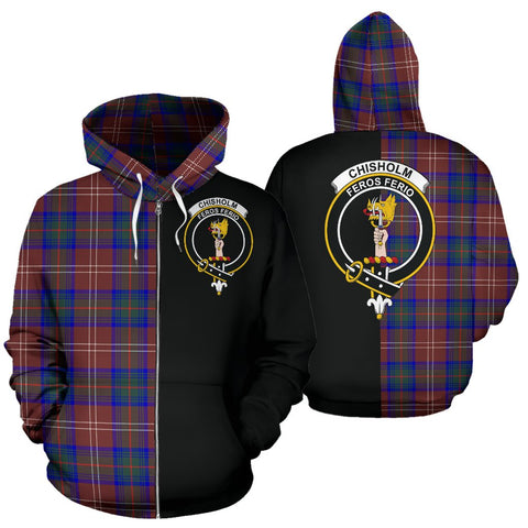 Image of (Custom your text) Chisholm Hunting Modern Tartan Hoodie Half Of Me TH8