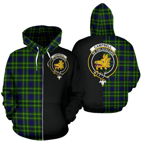Image of (Custom your text) Campbell of Breadalbane Modern Tartan Hoodie Half Of Me TH8