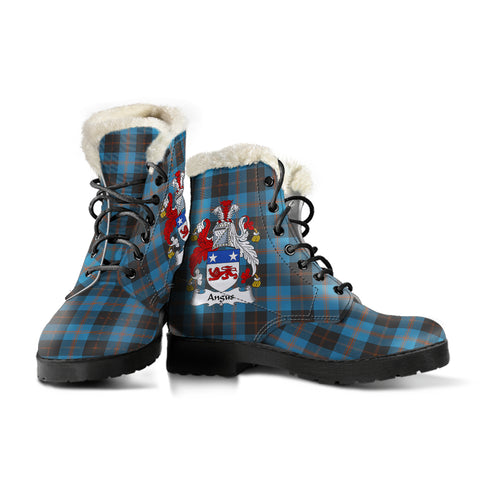 Angus Ancient  Tartan Faux Fur Leather Boots