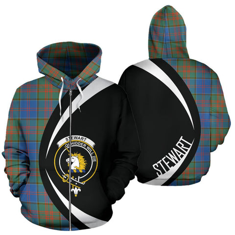 Image of Stewart of Appin Hunting Ancient Tartan Circle Zip Hoodie HJ4