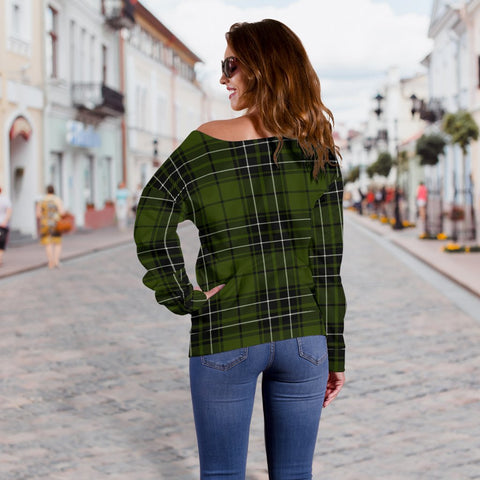 Image of Tartan Womens Off Shoulder Sweater - MacLean Hunting - BN