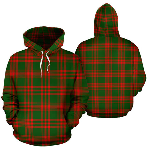 Image of Menzies Green Modern Tartan Hoodie, Scottish Menzies Green Modern Plaid Pullover Hoodie