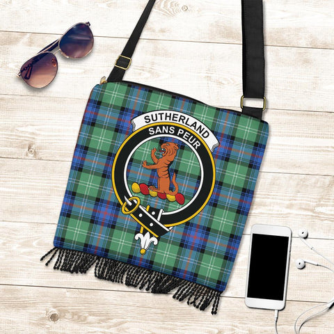 Sutherland Old Ancient Tartan Clan Badge Boho Handbag K7