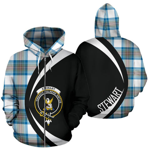 Stewart Muted Blue Tartan Circle Zip Hoodie HJ4