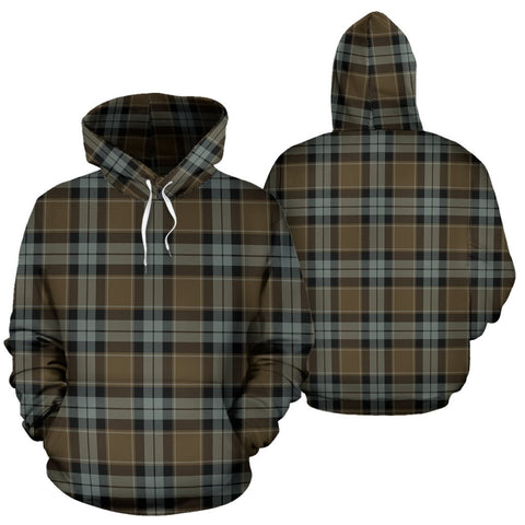 Image of Graham Of Menteith Weathered Tartan Hoodie, Scottish Graham Of Menteith Weathered Plaid Pullover Hoodie