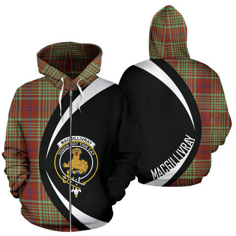 MacGillivray Hunting Ancient Tartan Circle Zip Hoodie HJ4