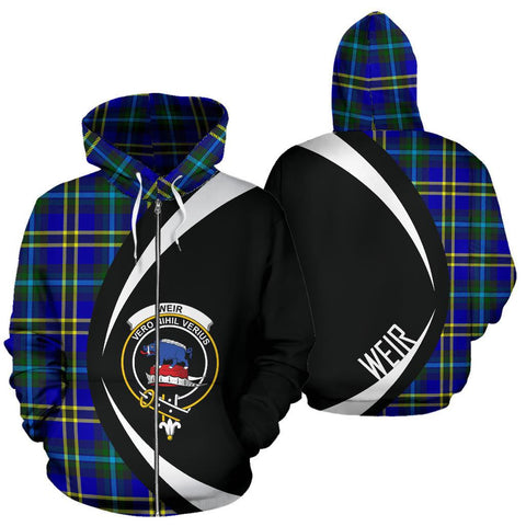Image of Weir Modern Tartan Circle Zip Hoodie HJ4