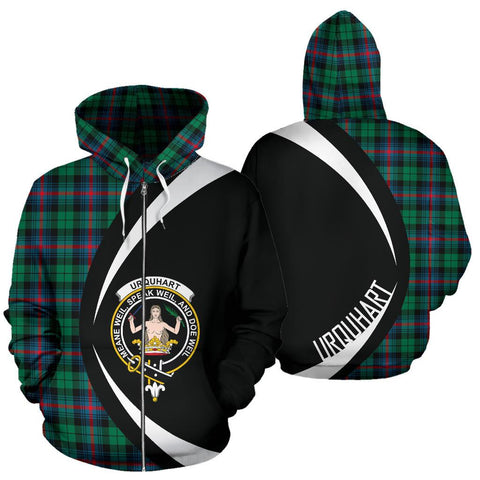 Urquhart Broad Red Ancient Tartan Circle Zip Hoodie HJ4
