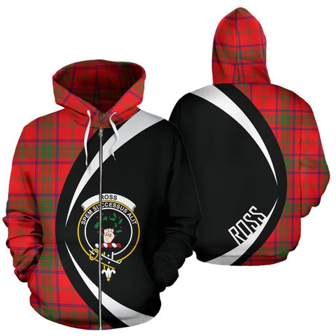 Image of Ross Modern Tartan Circle Zip Hoodie HJ4