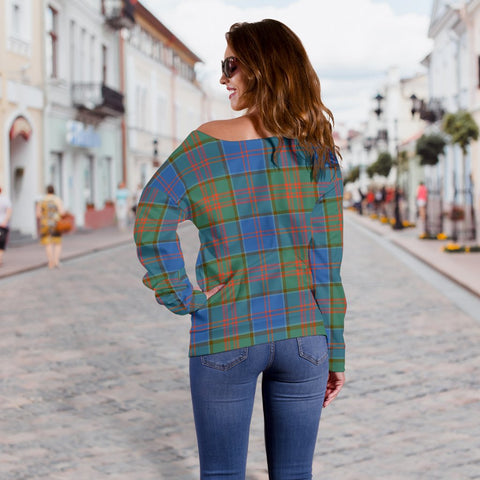 Image of Tartan Womens Off Shoulder Sweater - Stewart Of Appin Hunting Ancient - BN