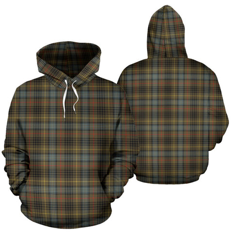 Stewart Hunting Weathered Tartan Hoodie, Scottish Stewart Hunting Weathered Plaid Pullover Hoodie
