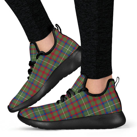 Image of Tartan Mesh Knit Sneakers - Shaw Green Modern