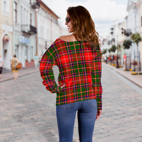 Tartan Womens Off Shoulder Sweater - Somerville Modern - BN