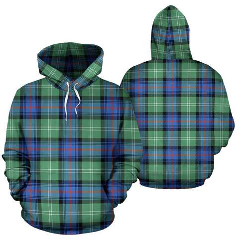 Sutherland Old Ancient Tartan Hoodie, Scottish Sutherland Old Ancient Plaid Pullover Hoodie