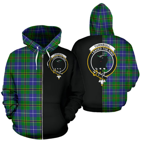Turnbull Hunting Tartan Hoodie Half Of Me TH8