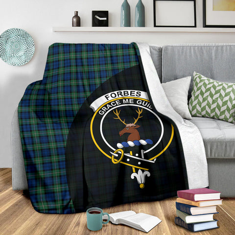 Forbes Ancient Tartan Clan Badge Premium Blanket Wave Style TH8