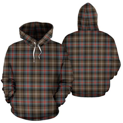 Sutherland Weathered Tartan Hoodie, Scottish Sutherland Weathered Plaid Pullover Hoodie