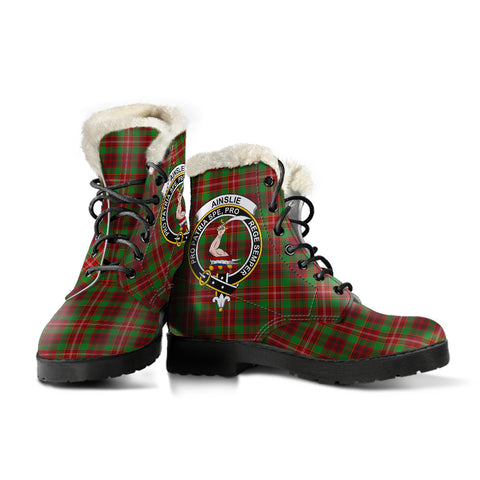 Image of Ainslie  Tartan Faux Fur Leather Boots