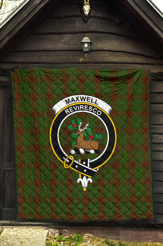 Maxwell Hunting Tartan Clan Badge Premium Quilt TH8