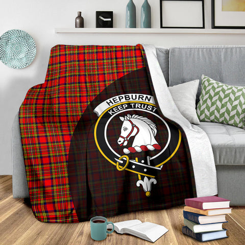 Hepburn Tartan Clan Badge Premium Blanket Wave Style TH8