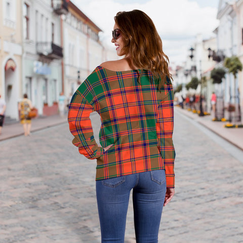 Tartan Womens Off Shoulder Sweater - Stewart Of Appin Ancient - BN