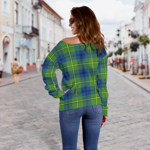 Image of Tartan Womens Off Shoulder Sweater - Johnston Ancient - BN