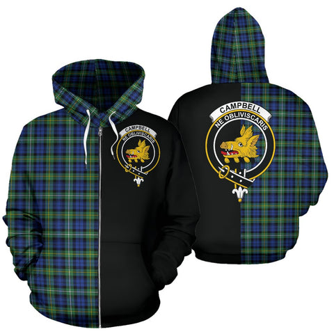 (Custom your text) Campbell Argyll Ancient Tartan Hoodie Half Of Me TH8