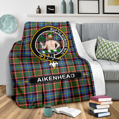 Aikenhead Crest Tartan Blanket | Tartan Home Decor | Scottish Clan