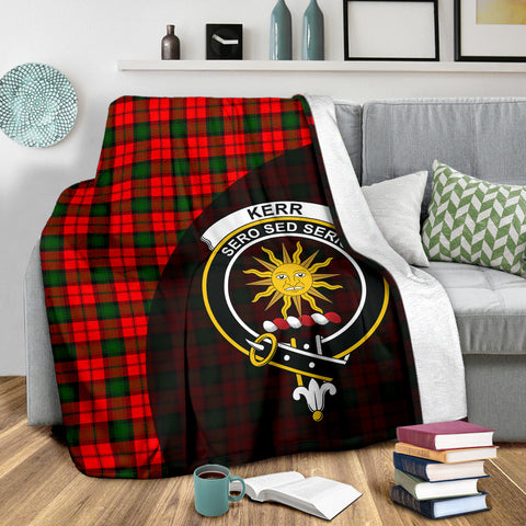 Kerr Modern Tartan Clan Badge Premium Blanket Wave Style TH8