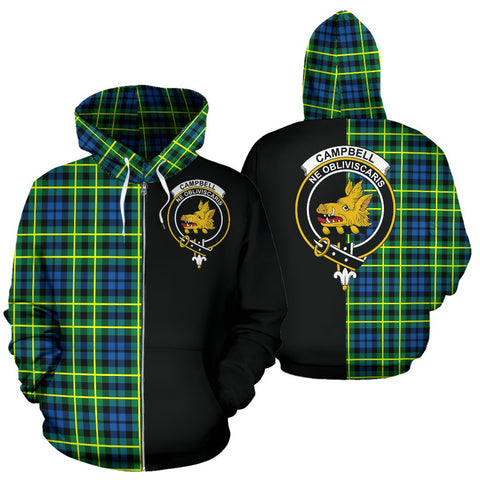 Image of (Custom your text) Campbell of Breadalbane Ancient Tartan Hoodie Half Of Me TH8