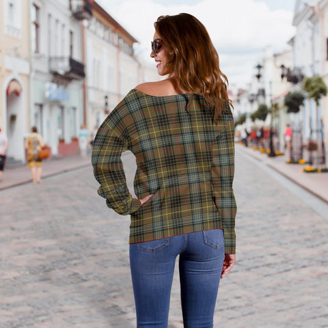 Tartan Womens Off Shoulder Sweater - Stewart Hunting Weathered - BN