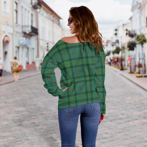 Tartan Womens Off Shoulder Sweater - Ross Hunting Ancient - BN