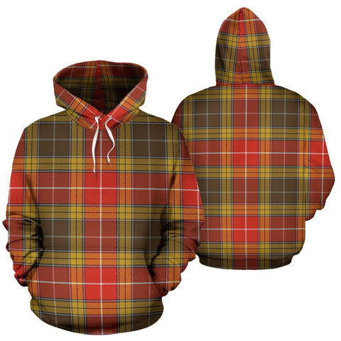 Image of Buchanan Old Set Weathered Tartan Hoodie, Scottish Buchanan Old Set Weathered Plaid Pullover Hoodie