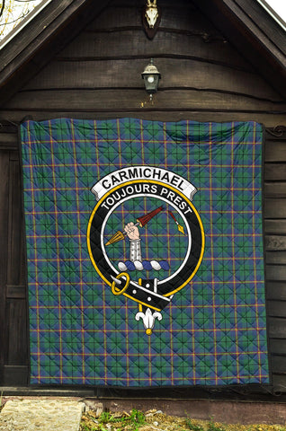 Image of Carmichael Ancient Tartan Clan Badge Premium Quilt TH8