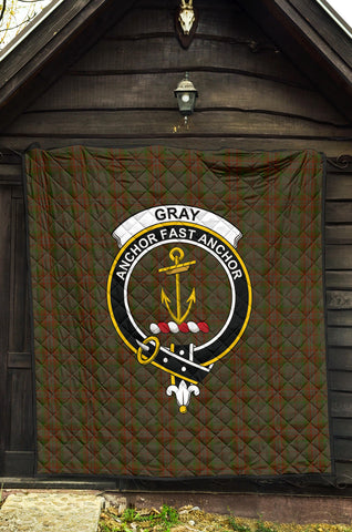 Gray Tartan Clan Badge Premium Quilt TH8