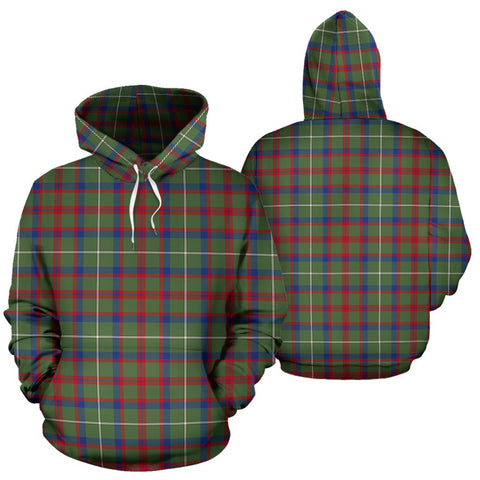 Image of Shaw Green Modern Tartan Hoodie, Scottish Shaw Green Modern Plaid Pullover Hoodie