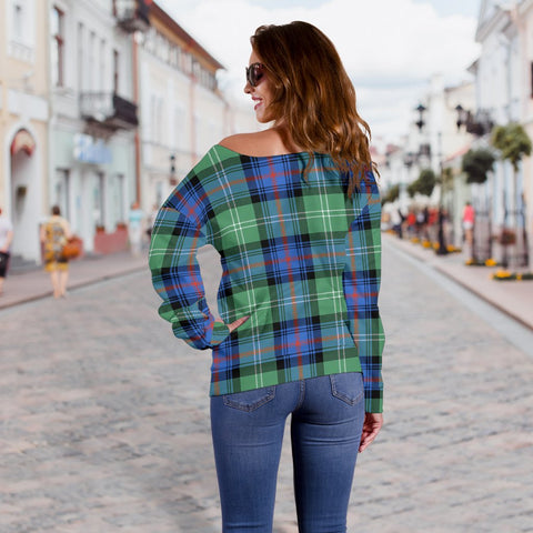 Tartan Womens Off Shoulder Sweater - Sutherland Old Ancient - BN