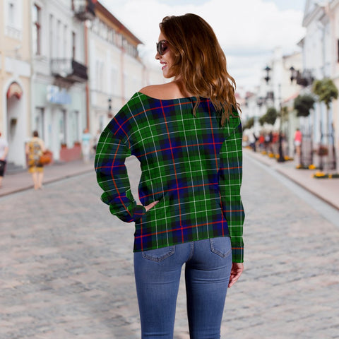 Tartan Womens Off Shoulder Sweater - Leslie Hunting - BN