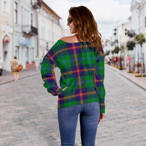 Image of Tartan Womens Off Shoulder Sweater - Young Modern - BN