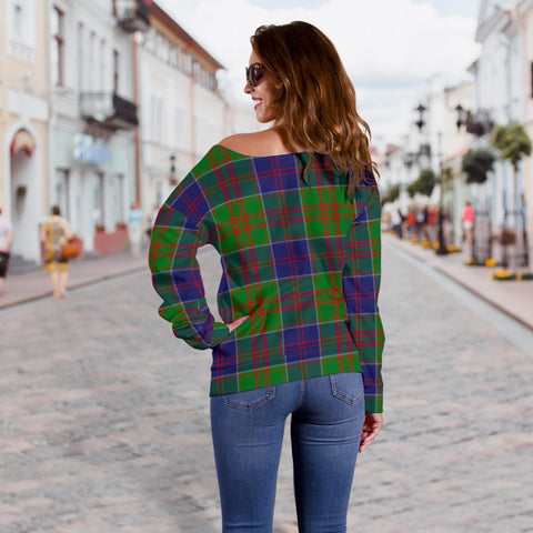 Tartan Womens Off Shoulder Sweater - Stewart Of Appin Hunting Modern - BN