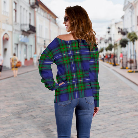 Tartan Womens Off Shoulder Sweater - Robertson Hunting Modern - BN